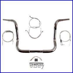 1 1/4 Chrome 14 Ape Hanger Handlebar Kit 1996-2006 Harley Electra Street Glide
