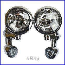 4.5 Auxiliary Fog Light Bracket Turn Signal For Harley Electra Street Glide Chr