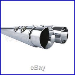 4 Megaphone Exhaust Pipes Mufflers Slip-On For Harley Road Street Glide Ultra