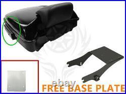 Black Razor Pack Trunk Backrest Rack For Harley Tour Pak Street Glide 97-08 07