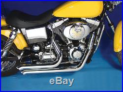 Chrome 2 1/4 Street Sweepers Exhaust Drag Pipes Harley Dyna FXD Bobber Chopper