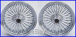 Chrome Fat Spoke 16 Front/rear Wheel Set Harley Electra Glide Road King Street