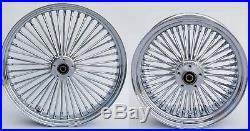 Chrome Fat Spoke 21 & 16 Front/rear Wheel Set Harley Electra Road King Street