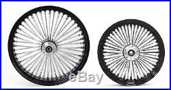 Fat Spoke 23 & 16 Black Wheels Front/rear Harley Electra Glide Road King Street
