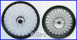 Fat Spoke 23 Front & 18 Rear Black Wheel Harley Electra Glide Road King Street