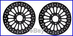 Fat Spoke Black Brake Disc Rotors Front Harley Electra Glide Road King Street Fl