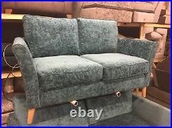 Furniture Village Bond Street 3 & 2 Seater Sofas In Harley Teal Fabric RRP £1848