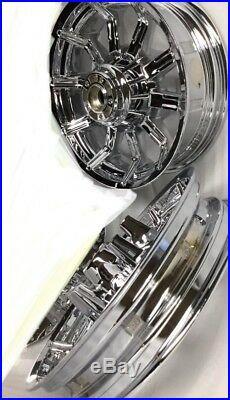 HARLEY TOURING Street glide IMPELLER CHROME WHEELS 2009 -18 MAG RIMS (EXCHANGE)