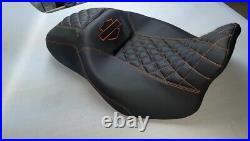 Harley-Davidson Street/road Glide Seat Cover Orange Stitching And Logo 2008-2020