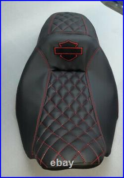 Harley-davidson 2008-2020 Street/road Glide Seat Cover Red Stitching With Logo