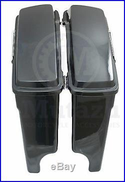 Mutazu 4 Extended Hard Bags Black Pearl for Harley Road King Street Glide FLHT
