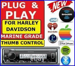 Plug And Play For 98-13 Harley Marine Kenwood Bluetooth Usb Stereo Pkg Opt XM