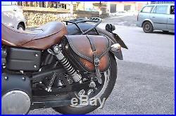 Saddle Bag For Harley Davidson Dyna Street Bob Fat Bob Italian Quality Leather