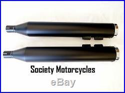 Street Glide Low Harley Davidson Revolver Slip-On Mufflers Exhaust Pipes Black