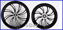 Twisted Vortex Front/rear 21 & 16 Black Wheel Set Harley Electra Glide Street