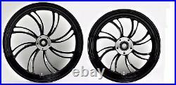 Twisted Vortex Front/rear 21 & 18 Black Wheel Set Harley Electra Glide Street